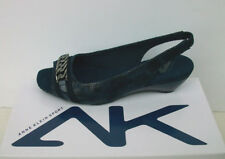 Anne Klein Sport Sz 6 M Sandals Wedge Heel Slip on Sling Back PEEP Toe PUMPS