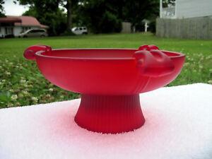 Antique Art Deco Red Satin Art Glass Ashtray or Bowl,1920s