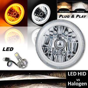 """7"""" Switchback White DRL Amber Turn Signal Angel Eye Halo LED Headlamp Bulb EACH"""