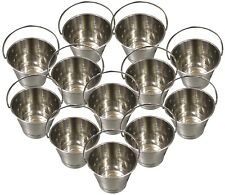 Stainless Steel Buckets / Pails, 13cm tall, 4-Quarts [12pcs]