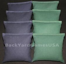 Cornhole Bean Bags Navy & Green 8 All Weather Resin Filled
