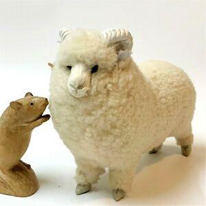 Fleecy Marino RAM Sheep Figure 20cm Tall, Curled Horns, Leather Ears, Furry Face