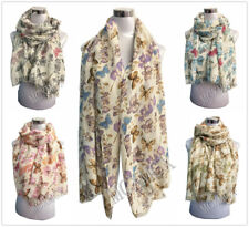 Women Lady High Quality Soft  Butterfly Flower Pattern Scarf Warp Stole
