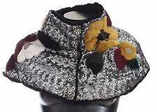 NWT DOLCE & GABBANA Fur Weasel Shoulder Scarf Wrap Floral Crystal IT40/US6