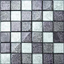 1 SQ M Black Silver Glass Bathroom Shower DIY Kitchen Mosaic Wall Tiles 0092