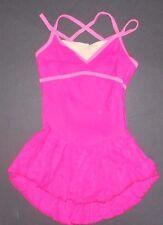 NWOT Camisole Skate Dress Nude Bodice inset double straps Hot Pink medium child