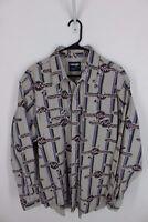 Vintage 80s 90s Wrangler Button Up Western Shirt Size 17 1/2 Neon Pink Purple XL