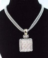 """MICHAEL DAWKINS DIAMOND PENDANT STERLING SILVER AND 18k GOLD WITH 16"""" DOULBE STR"""