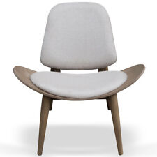 Modern Fabric Shell Wing Walnut Chair Dark Wood Armless Wooden Padded Seat