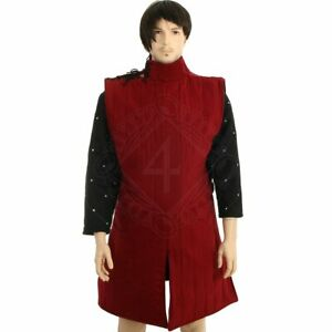 Medieval Red Color Padded Theater sleeve less Gambeson Costume