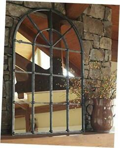 - Oengus Arched Window Finished Metal Mirror - Traditional - Antique Silver