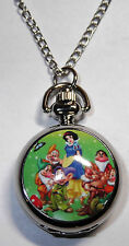"Disney's SNOW WHITE & The Seven Dwarfs Pendant Watch on 30"" Chain"