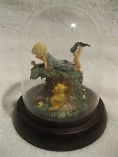 RARE CLASSIC WINNIE THE POOH CHRISTOPHER ROBIN & PIGLET FIGURINE W/ GLASS COVER