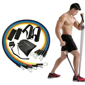 Resistance Bands Workout Exercise Yoga 11 Pieces Set Crossfit Fitness Tubes Gym