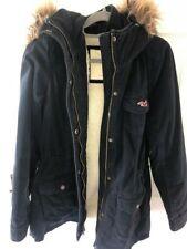 Hollister Navy Sherpa Lined Hooded Women's Parka Coat / Jacket Size L