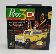 Wrebbit Puzz3D NEW YORK TAXI CAB 3D Miniature Puzzle 1998 Complete 63 Pieces
