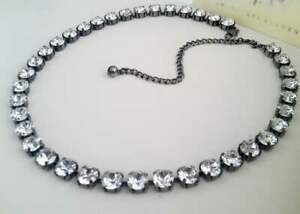 Anna Wintour Diamond Cut Clear Tennis Graduate Necklace w/ Swarovski Crystals