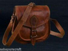 Leather Vintage Messenger ladies Shoulder  Tote Leather Bag Matka 7x9x3 inch