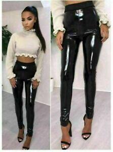 Women Vinyl PVC Wet Reflective Disco Elasticated High Waist Leggings Pants