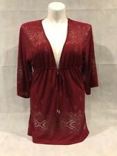 Dotti Tribal Tunic Beach Swimsuit CoverUp Dress Wine Red Stretch $54 NWT Large L