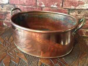 Vintage Large Solid Copper Oval Cooking Pot Ideal Planter Jardiniere
