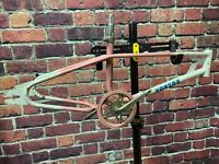 "OLD SCHOOL BMX MX DOUBLE TOP TUBE FRAME FRAMESET TOUTOU 20"" WHEELS FREESTYLE"