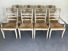 8 French Country Carved Rooster Ruch Seat Dining Chairs