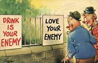 RUDE RISQUE COMIC BAMFORTH DRINK is your ENEMY LOVE your ENEMY POSTCARD - USED