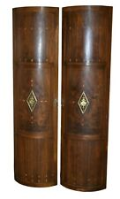 Pair of Antique French Large Inlaid Rounded Doors w/Brass Ormolu