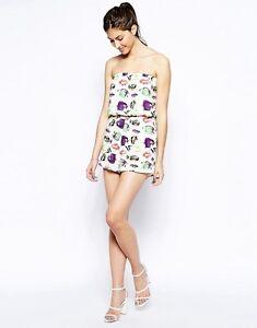 AX Paris Women's Playsuit, Bandeau Fish Print, Strapless Summer Beach Outfit NEW