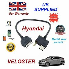 For Hyundai Veloster iPhone 3gs 4 4s iPod USB & 3.5mm Aux Cable MY 09- 2012