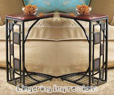 Set of 2 Side Sofa Table Slate Trimmed TV Remote Snack Drink Holder Slides Under