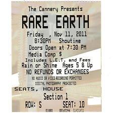 RARE EARTH Concert Ticket Stub LAS VEGAS NV 11/11/11 CANNERY CASINO & HOTEL Rare