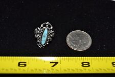 Vintage Oval Silver Turquoise Ladies Ring Sterling Silver Size 5