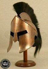 Antique Brass 300 Leonidas Helmet Armor Helmet Brass W/Black Plume