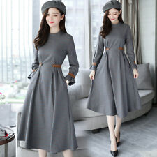 New Temperament Women Gray Long Sleeved Round Collar Lace Waist Plaids Dress