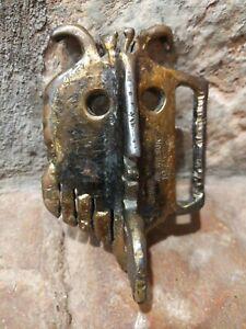 Abstract Owl Metal Beam Buckle Sculpture signed (Albert Leon) A.L. Wilson c.1968