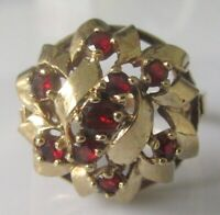 Vintage 9ct yelow gold multi garnet round dome shape cluster ring size N