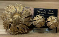 Vintage Monet Gold Tone Brooch & Matching Clip On Earrings