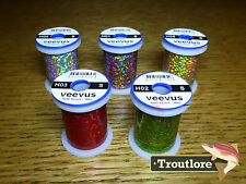 5 x SPOOLS SMALL VEEVUS HOLOGRAPHIC TINSEL THREAD - NEW FLY TYING MATERIALS