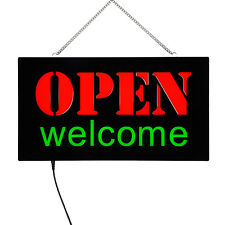 Open & Welcome Led Light Sign, On/Off Switch, Highly Visible Bright Neon Style