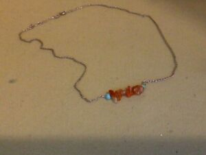 """Vintage Sterling Silver. Ladies Necklace. 17"""". Turquoise & Carnelian."""
