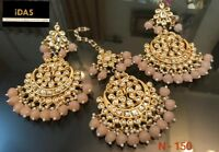 Indian Kundan Earrings Tikka Set Bollywood Partywear Women Ethnic Gold Tone-