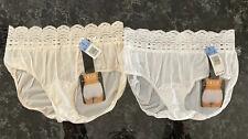 Vintage Granny Panties Silky Sheer Nylon 2 Pair NWT Sz 6 Lace Sissy Briefs Olga