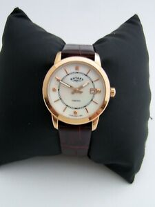ROTARY WOMEN'S WATCH LB00246/41 GOLD STAINLESS STEEL DIAMONDS LEATHER GENUINE