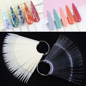 BL_ IC- Pointed False Nail Tips Polish Color Card Salon Manicure Display Tool Fa