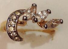 bague plaqué or 18k poinçonnée fiançailles oxyde diamant navette solitaire T56.5