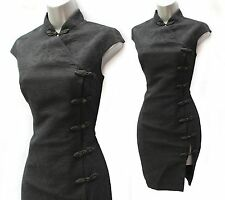 RARE Karen Millen Black Thick Jacquard Chinese Oriental Style Wiggle Dress 10 38