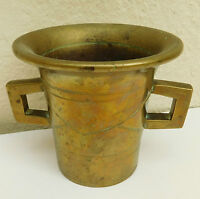 Antique brass mortar Chemist apothecary grinding cup 2 handled vintage heavy