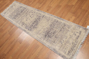 """2'4"""" x 8' Hand Knotted Abstract Modern 100% Wool runner Area rug AOR8511 Beige"""